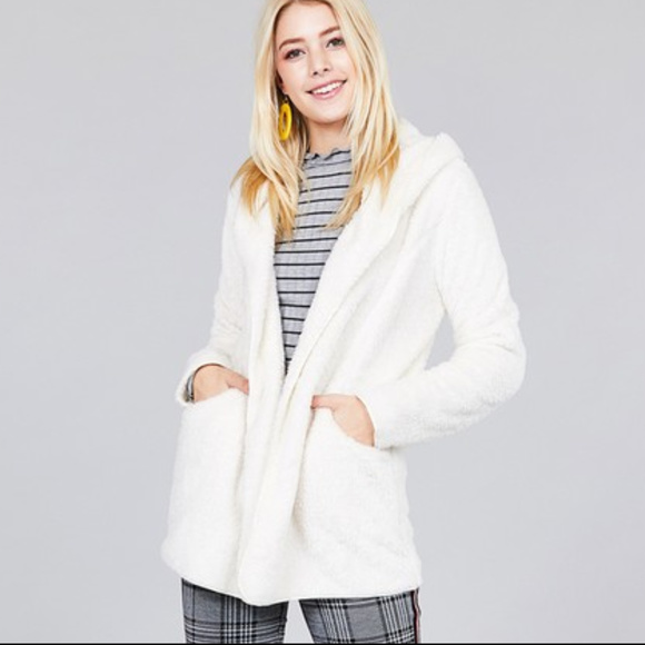 c0d3620f7fe Katilaya Boutique Jackets & Coats | Sale Off White Faux Fur Hooded ...